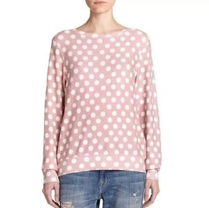 Wildfox white and pink polka dot sweater size s